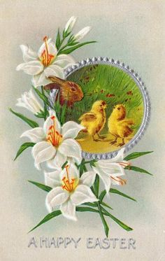 Vintage USA Easter Greetings Postcard of Rabbit Chicks Lillies Embossed | eBay