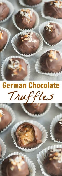 German Chocolate Truffles German Chocolate Truffles - coconut pecan german chocolate filling rolled into bite-size balls and dipped in chocolate. Chocolate Filling, Chocolate Truffles, Chocolate Brownies, Chocolate Crinkles, Chocolate Sweets, Chocolate Cream, Chocolate Ganache, Chocolate Chips, Chocolate Recipes