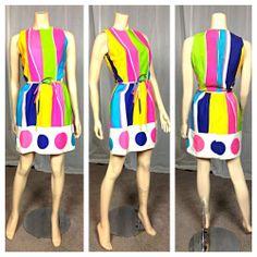 $25 Vintage Retro mod 60s Lanz original cotton canvas colorful sheath dress