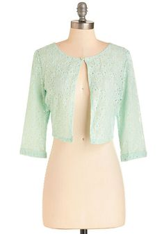 A Presh Start Jacket in Mint - Mint, Solid, Eyelet, Daytime Party, 50s, Pastel, 3/4 Sleeve, Spring, Woven, Good, Green, Short, Lace, 1, Work, Vintage Inspired, Variation