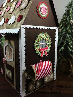 jpp - Papier Lebkuchenhaus beleuchtet mit Briefkasten / Paper Gingerbread House with lights and mailbox / Knusperhaus / Christmas / Weihnachten / Stampin' Up! Berlin / Trautes Heim / Dekoratives Etikett / Deco Labels / Baumstanze / Willkommen Weihnacht / Tortenstück Thinlits / Hearth & Home / Decorative Label / Cutie Pie Thinlits / Tree Builder Punch  www.janinaspaperpotpourri.de