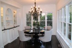Elegant Dining Room, love the black and white