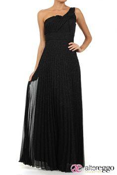#Vestido #graduaciones #verano #2014 #negro #black #party #fiesta #noche #largo #maxidress #dress #nigth #escote #ASIMETRICO #chiffon