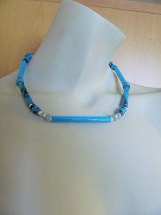 UPCYCLING Necklace paperbeads - Halskette blau - Papierschmuck - handmade - paper jewellery - Unikat - Schmuck aus Papier - ausgefallen von brisartbri auf Etsy