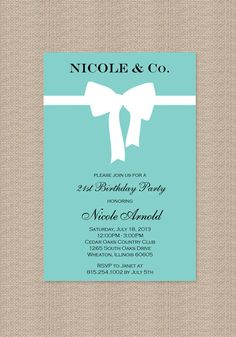 Tiffany Birthday Party Invitations  Inspired by by Honeyprint, $15.00