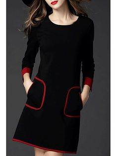 Black Pockets Long Sleeve Binding Plus Size Dress - ClothingI Cheap Dresses, Casual Dresses, Fashion Dresses, Fall Dresses, Fashion Clothes, Long Sleeve Cotton Dress, Everyday Dresses, Mode Inspiration, Clothes For Women