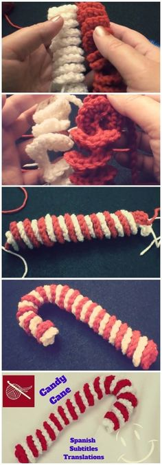 Crochet Ideas How to make beginner knit crochet candy cane SPANISH subtitles Translation Original Video - This Crochet Candy Cane is very beautiful plus very easy to make. You can find many crochet video tutorials or. Crochet Christmas Decorations, Crochet Ornaments, Christmas Crochet Patterns, Holiday Crochet, Crochet Crafts, Diy Crochet, Crochet Projects, Beginner Crochet, Crochet Toys