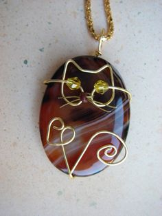 Unique Gold Wire Cat on Agate Pendant Necklace by jillmh123, $12.50