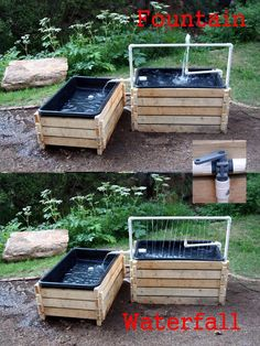 Home made toddler water table. Two separate tables, linked by chute. Pump in sump basin under short table recirculates water to valve on side of tall tabl. Kids Outdoor Play, Outdoor Play Spaces, Kids Play Area, Backyard For Kids, Diy For Kids, Kids Water Play, Kids Play Table, Toddler Water Table, Sand And Water Table