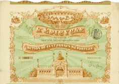 L'Épicycle Société Anonyme, Paris, 10 May 1899, Action de 100 Francs, #3537, 22.5 x 32.5 cm, brown, green, coupons, horizontal fold with tears at the ends, small pin holes, otherwise in good condition.