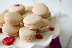 ... dried strawberry powder macaron shells filled with vanilla bean swiss