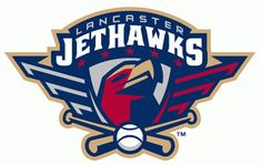 Lancaster Jethawks Primary Logo (2008) - A red hawk head on a silver shield below team name and above crossed bats