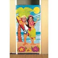 Decorations: Note: Photo Op style requested by some last year Luau Couple  Photo Door Banner - OrientalTrading.com 3' x 6' $9.75