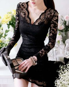 Clearance  New Fashion V-neck Long Sleeve Lace Bodycon Dress Sexy Little Black Dress Clubwear White Above Knee Dress