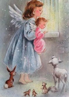 Glittered Angels in the Window-Vintage Christmas Greeting Card