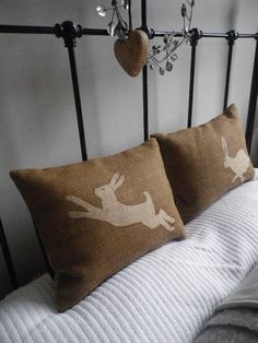 hand printed hare pair cushions by helkatdesign on Etsy, $118.00