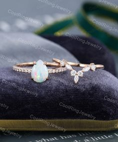 Opal Wedding Ring Set, Curved Wedding Band, White Gold Wedding Bands, Wedding Jewelry, Dream Engagement Rings, Engagement Ring Settings, Vintage Engagement Rings, Plus Size Rings, Moissanite Bridal Sets
