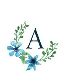 Monogram K Pretty Blue Flowers Photographic Print Stylish Alphabets, Alphabet Wallpaper, Framed Wallpaper, Monogram Shirts, Floral Letters, Color Theory, Gifts For Family, Blue Flowers, Framed Prints