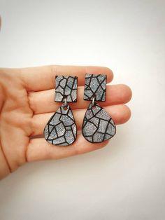 Holographic Leather Earrings, Statement Geometric Jewelry, Funky Bold Earrings, Modern Teardrop Party Earrings, Metallic Iridescent Leather