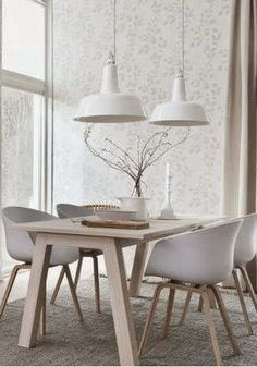 If you want to add a special touch to your Scandinavian dining room lighting design, you have to read this article that is filled with unique tips. Room Design, Interior, Dining Room Interiors, White Dining Room, Home Decor, House Interior, White Dining Room Table, Scandinavian Dining Room, Interior Design