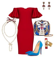 """Untitled #399"" by sh-66-sh on Polyvore featuring Badgley Mischka, Gucci, Christian Louboutin and Hermès"