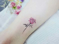 Pink rose tattoos, small rose tattoos, tatoo rose, flower tattoos, small an Trendy Tattoos, Cute Tattoos, Beautiful Tattoos, Body Art Tattoos, New Tattoos, Sleeve Tattoos, Tattoos For Guys, Tattoos For Women, Pink Tattoos