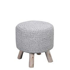 Featuring stylish eucalyptus wood legs and a chunky wool knit, this sturdy piece offers comfort as a footstool and a convenient place for impromptu seating.