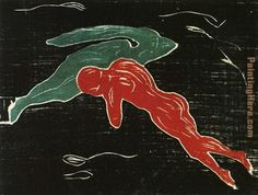 name of artist :Edvard Munch name of work: meeting in Outer Space created in 1899  medium: woodcut  size: 190 mm x 250 mm