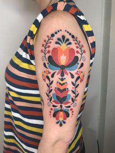 Folk flowers by Winston the Whale Good Stuff Tattoo Portland OR Source by qenu Pretty Tattoos, Beautiful Tattoos, Tattoo Modern, Hungarian Tattoo, Hip Thigh Tattoos, Chicken Tattoo, Polish Tattoos, Surreal Tattoo, Polish Folk Art