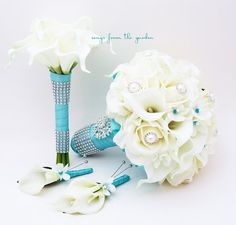Bridal Bouquet Stephanotis Roses Calla Lily by SongsFromTheGarden