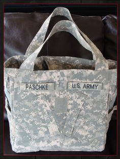 baby diaper bag made out of military uniform.  @Brittany Dubord you and Steve need this for your future babies!
