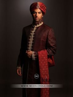 Glorious sherwani designs for men in jamawar fabric by designer Amir Adnan men's store. Browse our extensive selection of superb quality sittched mens sherwani suits