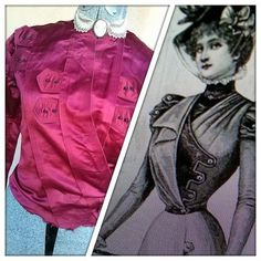 Vintage 1890s Victorian Blouse Red Satin by bycinbyhand on Etsy