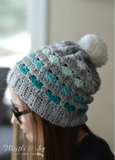 Heart stitch hat, free crochet pattern on Whistle and Ivy