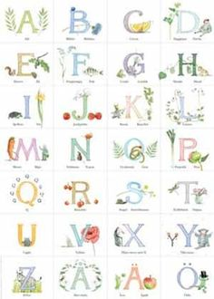 67-2176 Abc Poster, Posters, Alphabet Art, Alphabet Soup, Garden Theme, Letters And Numbers, Childrens Books, Illustration, Prints