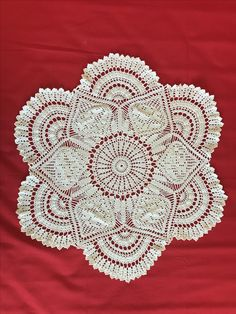"Rose Motif Doily   Measures 22"" and perfect for any round table. Can also be used as a beautiful centre piece.  Video tutorial to this Doily can be found on YouTube and the video tutorial is so well done by Joanna Stawniak ."
