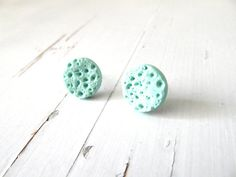 Turquoise stud earrings, Mint Studs, round post earrings FREE SHIPPING