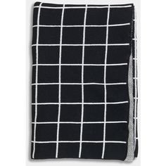 Unison Grid Black Knit Blanket ($98) ❤ liked on Polyvore featuring home, bed & bath, bedding, blankets, black white blanket, black and white bedding, black throw, knit throw and black white bedding
