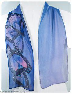 "Butterfly Silk Scarf / Periwinkle blue Silk Scarf. Handmade silk scarf 8""x52"" chiffon. Hand painted silk scarf. handpainted silk scarves. by SirenSilks on Etsy"