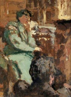 Lady in Green. Edouard Vuillard - Kelvingrove Art Gallery and Museum - Glasgow (United Kingdom - Glasgow). Medium: Painting - oil on board . Edouard Vuillard, Manet, Claude Monet, Figure Painting, Painting & Drawing, Glasgow Museum, Glasgow Uk, Post Impressionism, Magritte