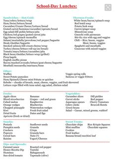 List for packing preschool lunch Kids Lunch For School, School Snacks, School Days, Packing School Lunches, Lunch Ideas For Teens, Work Lunches, Lunch Menu, Lunch Snacks, Healthy Lunches