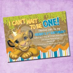 Simba Lion King Birthday Invitation by FreshInkStationery on Etsy First Birthday Themes, 1st Boy Birthday, 1st Birthday Parties, First Birthdays, Birthday Ideas, Birthday Crafts, Themed Parties, Lion Party, Lion King Party