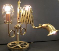 The Inventor's Lamp, a 3 way scissor arm table lamp
