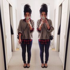 Oversized sweater, plaid underneath