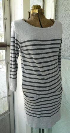 RAG & BONE SMALL TWO TONE GRAY STRIPE 3/4 SLEEVE FRONT POCKET COTTEN SHIFT DRESS #ragbone #Shift #Casual