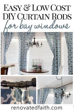 DIY Custom Curtain Rods (Make Curtain Rods Out of Electrical Conduit) Bay Window Curtain Rods – Make super cheap diy curtain rods from galvanized pipes [. Living Room Decor Curtains, Home Curtains, Living Room Windows, Custom Curtains, Farmhouse Curtains, Living Rooms, Bay Window Curtain Rod, Window Curtain Rods, Rideaux Du Bow Window
