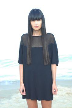 Beautiful bangs + a mini tunic dress.    Shop this range at DTLL.