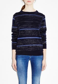 Falls Sweater - Subtle striped knit - Blue Mix - MiH