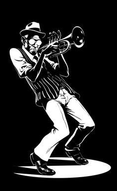 Illustration by Oscar Jimenez plakat Art Et Illustration, Illustrations, Caricature Art, Jazz Poster, Jazz Art, Music Artwork, Black White Art, Jazz Musicians, Trumpet