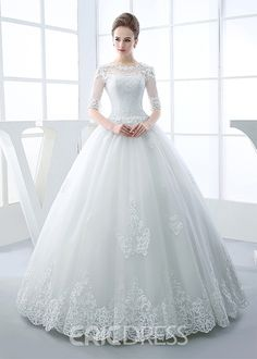 A long cherished dream: wedding dresses half sleeves scoop neck appliques beading ball gown wedding dress elegant wedding dresses ZGKYSKY Princess Wedding Dresses, Modest Wedding Dresses, Cheap Wedding Dress, Bridal Dresses, Gown Wedding, Tulle Wedding, Bridesmaid Dresses, White Wedding Gowns, Wedding Rings